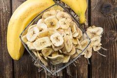 Banana Chips (close-up shot) Royalty Free Stock Image