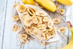 Banana Chips (close-up shot) Royalty Free Stock Photography