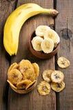 Banana chips and fresh fruits Royalty Free Stock Photo