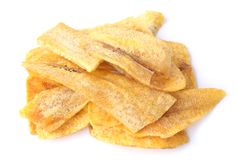 Banana chips. On white background royalty free stock photography