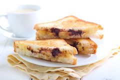 Banana and chocolate grilled sandwiches Royalty Free Stock Photography
