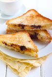 Banana and chocolate grilled sandwiches Stock Photography