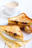Banana and chocolate grilled sandwiches Stock Image