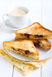 Banana and chocolate grilled sandwiches Royalty Free Stock Image