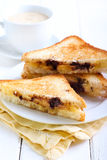 Banana and chocolate grilled sandwiches Royalty Free Stock Photos