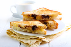 Banana and chocolate grilled sandwiches Stock Images