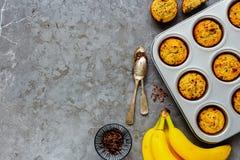 Banana chocolate muffins. Flat-lay of banana chocolate muffins captured from above stock image
