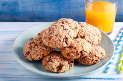 Banana, chocolate and nuts, coconut cookies Stock Image