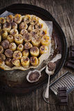 Banana and chocolate tarte tatin Royalty Free Stock Photo