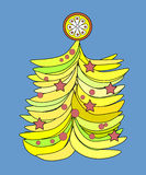 Banana Christmas tree. For the coming year of monkey. Banana Christmas tree. For the coming year of the monkey Royalty Free Stock Images