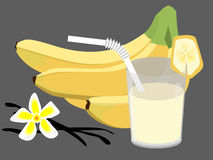 Banana cocktail. Banas, ccocktail from bananas and flower of vanilla Stock Images