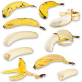 Banana Collage. Different close-up shots of bananas pooled and isolated in one big picture (5000px x 5000px stock images