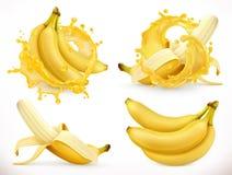 Banana com suco fresco do leite Fruto fresco e respingo, ícone do vetor 3d Imagem de Stock