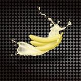 Banana com suco fresco do leite Fruto fresco Vetor realístico em um fundo transparente ilustração do vetor