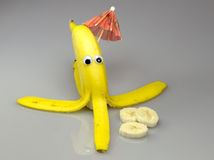 Banana with comic eyes Royalty Free Stock Photos