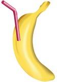 Banana con paglia Fotografie Stock