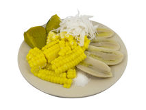 Banana, corn, pumpkin and coconut boil. A plate of boiling Banana, corn, pumpkin and coconut royalty free stock photos
