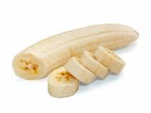 Banana cortada fresca isolada no fundo branco Foto de Stock Royalty Free