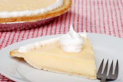 Banana cream pie with a fork Royalty Free Stock Photography