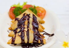 Banana Crepe with Chocolate Stock Images