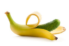 Banana and cucumber Royalty Free Stock Photography
