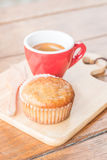 Banana cup cake and espresso Royalty Free Stock Photos