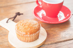 Banana cup cake and espresso Royalty Free Stock Photo