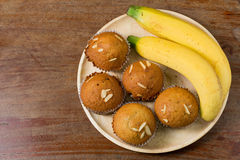 Banana cup cake freshly baked, thai dessert. Royalty Free Stock Photo