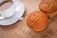 Banana cup cake on hessian mats and coffee cup Royalty Free Stock Photos