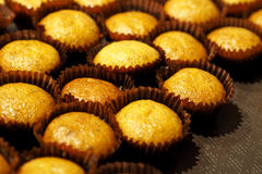 Banana cup cake muffin closeup Royalty Free Stock Images