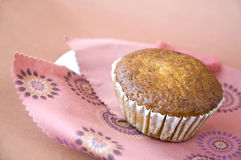 Banana cup cake on pink Stock Photo