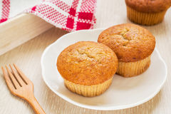 Banana cup cake on white dish Stock Images