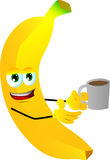 Banana with a cup of coffee Royalty Free Stock Photo