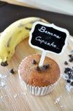 Banana Cupcake and Banana on Wooden Plate Royalty Free Stock Photography