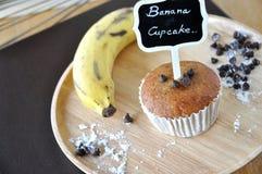 Banana Cupcake with Chocolate Chip and Fresh Banana Royalty Free Stock Photos