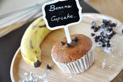 Banana Cupcake with Fresh Banana on Background Stock Images