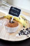 Banana Cupcake with Label on wooden Plate Royalty Free Stock Photography