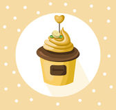 Banana cupcake muffin Vector illustration dessert. Template icon for menu, cafe, bakery. Vintage retro background Stock Photo