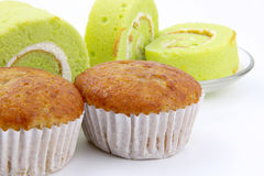 Banana cupcake  and Pandan and coconut flavored roll cake Stock Photography