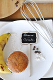 Banana Cupcake Sign on Plate Royalty Free Stock Photography