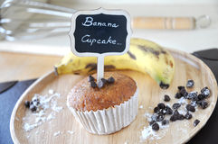 Banana Cupcake with Stick Label Stock Photo