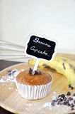 Banana Cupcake with Title Pin on Cake Royalty Free Stock Image