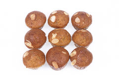 Banana cupcakes with almond  on white Stock Photo