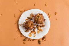 Banana cupcakes with insect stock photo