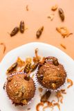 Banana cupcakes with insect foods. And crispy shallots fried on orange tablecloth background. Healthy meal high protein diet concept. Top view, Selective stock photography