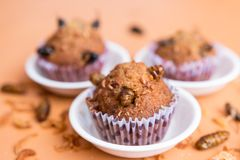 Banana cupcakes with insect foods stock image