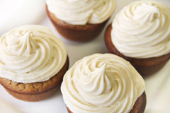 Banana Cupcakes with Maple frosting top Stock Photo