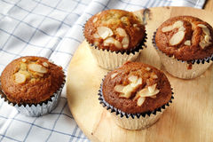 Banana cupcakes, very yummy and delicious banana cake and almond Royalty Free Stock Image