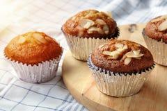 Banana cupcakes, very yummy and delicious banana cake and almond Stock Image