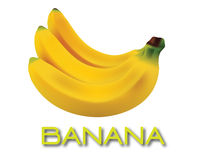 Banana 3D. Illustration of a fresh a group banana fruit on isolated white background Stock Photos